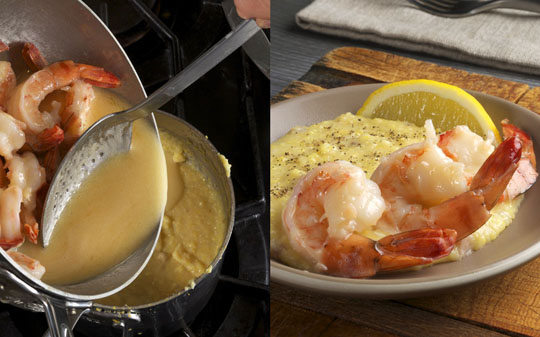 Add shrimpy butter to finish the grits and serve with a squeeze of ...