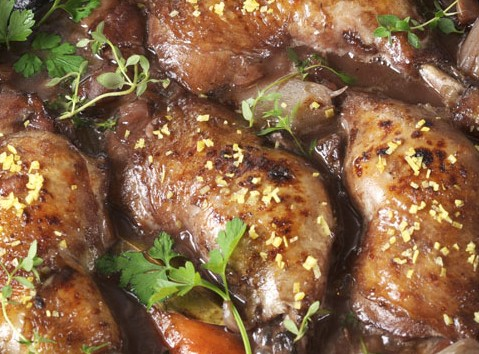 A weeknight braise of chicken in red wine, coq au vin, photo by Donna Turner Ruhlman