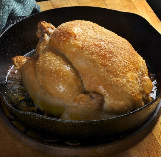 Chicken that has been given an aggressive salting before roasting.