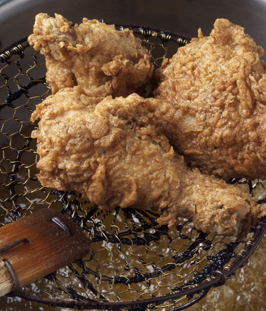Deep frying. Look at that golden brown color! Photo by Donna Turner Ruhlman.