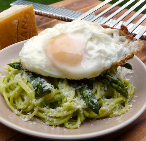 Pasta with asparagus and a fried egg. Photo by Donna Turner Ruhlman.