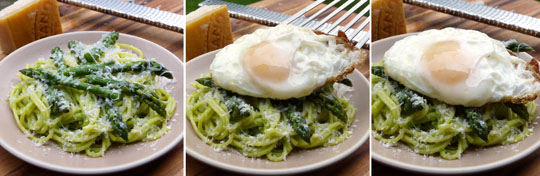 pasta with asparagus & egg X3 @540
