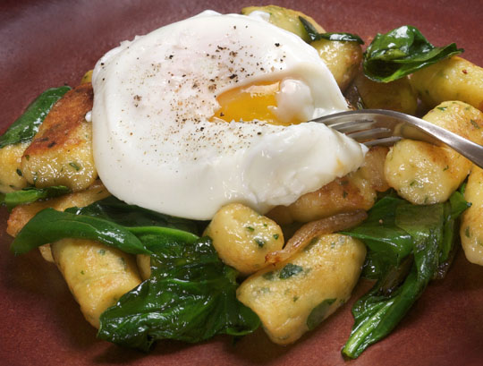 A classic french preparation, Parisienne gnocchi (with spinach and poached egg), transformed by schmaltz. Photo by Donna Turner Ruhlman.
