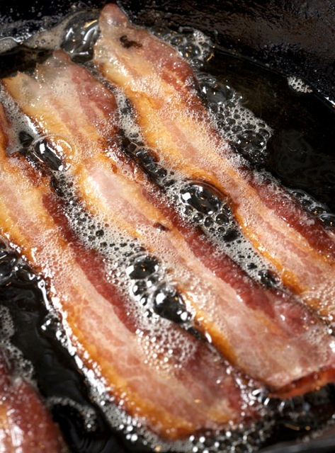 Sizzling hot bacon. Photo by Donna Turner Ruhlman.