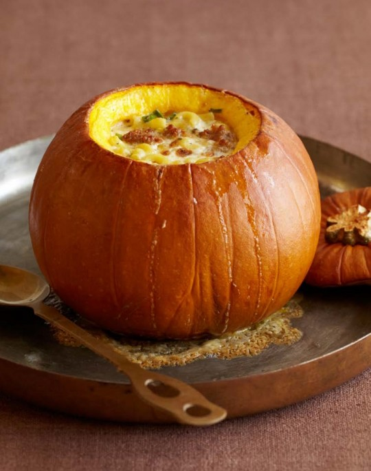 Pumpkin Stuffed with Fontina, Italian Sausage, and Macaroni
