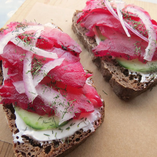 Fig Rye and Beet Cured Rockfish. Photo by Carri Thurman.