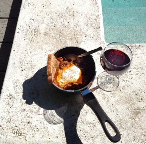 Poolside Key West Lunch: leftover Picadillo, egg, toast wine. My iPhoto
