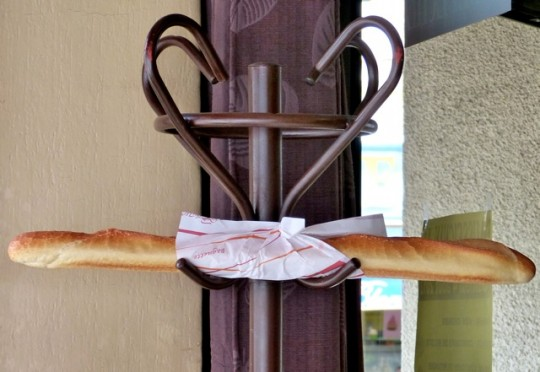 Baguette on restaurant Hat rack in Larvadac.