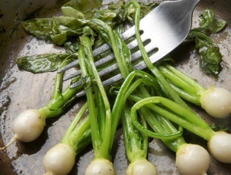 Baby turnips, greens and all, sautéed in butter.  All veggies from The Chef's Garden. All pix by Donna Turner Ruhlman.